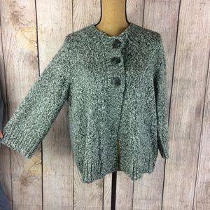 Croft & Barrow Grey 3 Button Cardigan Sweater Sz L